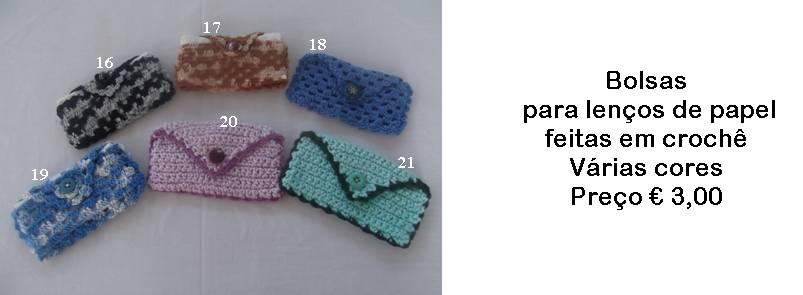 Bolsas para lenços de papel em crochê - Manuel A. M. Pacheco - Artesanato ad94585b130